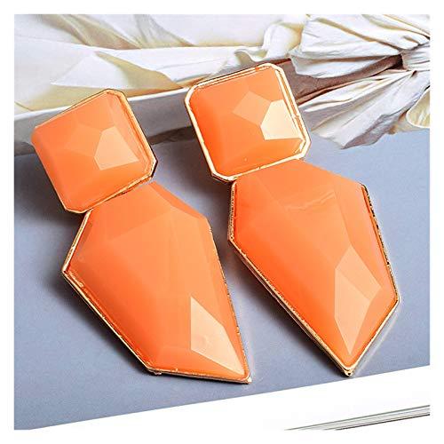 TFGUOqun Moda Pendientes de Gota de Resina Pura Transparentes, como Colgantes de Cristal, Pendientes Elegantes e Irregulares. para Mujeres, (Metal Color : Orange)