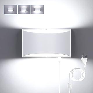Glighone Applique Murale Interieur LED Dimmable avec Interrupteur Fil 12W Lampe Murale Moderne Up Down Appliques Murales e...
