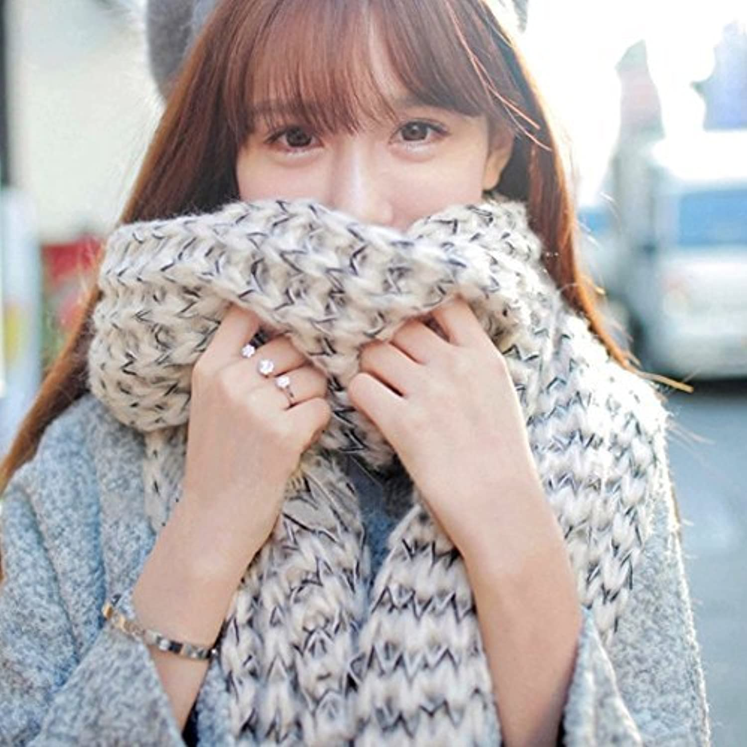 DIDIDD Long Scarf Men and Women in Autumn Winter Thickening Winter Warm Knitting Scarf Shawl Lady