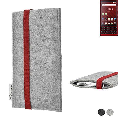 flat.design Handy Hülle Coimbra für BlackBerry KEY2 Red Edition individualisierbare Handytasche Filz Tasche rot grau