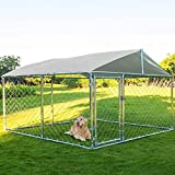 MAGIC UNION Dog Kennel Outdoor Metal Dog Cage Outside Dog Fence Pet Enclosure Fencing with Water-Resistant Cover Roof Backyard Dog Run House