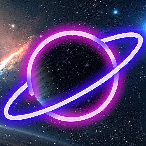 XIYUNTE Planet Leuchtschilder - LED Planet Neonlicht Rosa/Blau Planet Neonschild Wandlichter, Batterie oder USB betrieben Planet Licht Dekoration für Zuhause, Kinderzimmer, Bar, Party, Weihnachten