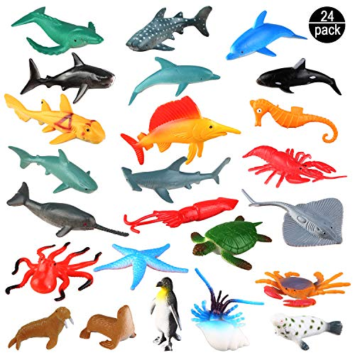 OOTSR Creatura del Mare Giocattolo Animale Figure -Set di 24 Animali dell'Oceano Children And Girls, as Gift, Useful for Educational Purposes, for Parties