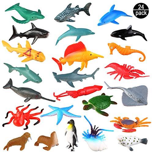 OOTSR Meerestiere Spielzeug - 24 Stück Ausgewählte Mini Vinyl Plastik Tiere als Spielzeugset, Realistisch Unterwasser Tiere Badespielzeug Figuren für Kinder Zum Lernen, Party, Kuchen