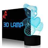 Teddy Bear 3D Illusion Lamp Night Light YKLWORLD 7 Color Changing Touch Control LED Table Lamp Nursery Bedroom Decor Christmas Birthday Gifts Toys for Kids Girls Animal Lover