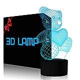 FZAI Corazón de Amor Oso 3D Illusion Lámpara Luz de Nocturna con 7 Colores Táctil Interruptor USB Cable Lámpara de Escritorio Decoración de Dormitorio Hogar para Niños Cumpleaños Regalos de Navidad