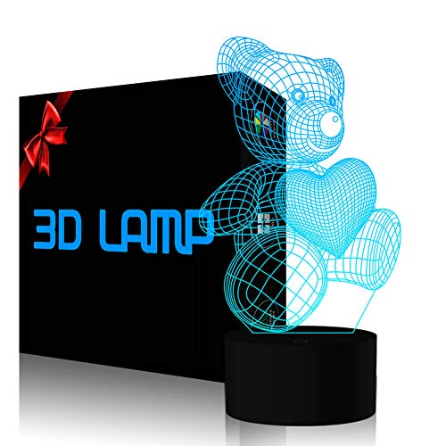 3D Visual Night Light 7 Colors Change Touch LED Desk Table Lamp Decor Fun Gift