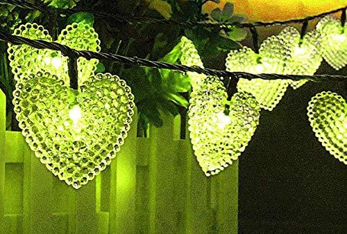 20 LED Herz Geformte Schnur Lichterkette Außen, KEEDA Wasserdicht Solarbetriebene Lichter Außenlichterkette für Garten Party Hochzeit Weihnachten Valentinstag Dekorationen (Grün)
