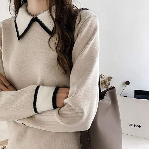 BingsL Pullover, elegant temperament gebreide damesjas draaien onder kraag patchwork pullover vrouwelijke kunst en wijsdamen bovenkant overbruggen
