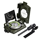 Proster IP65 Compass with Sighting Clinometer Military Compass Metal Camping Compass Waterproof with Carry Bag for Camping Hunting Hiking Geology Activities (Camouflage Compass + Flintstone)