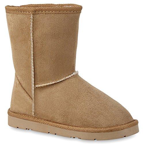 Stiefelparadies Warm Gefütterte Damen Schuhe Stiefel Schlupfstiefel Leder-Optik 127378 Beige Khaki 30 Flandell