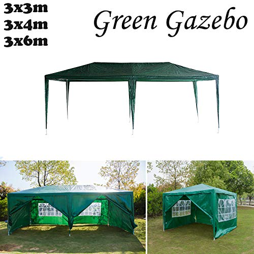AutoBaBa Garden Gazebos, Green PE Gazebo Marquee Awning Tent Canopy for Outdoor Wedding Garden Party, 3x3m, 3x4m, 3x6m, Fully Waterproof, (3x6m, with Zip Up Side Panel, A Type)