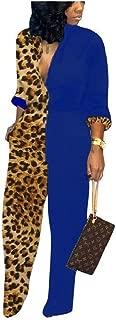 Howely Women's Fashion Casual Colorblock Leopard Print Loose Jumpsuit Pant