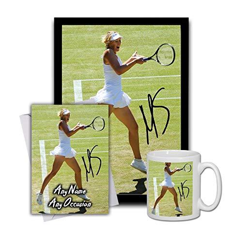 Star Prints UK Maria Sharapova Tennis 1 Gift Set Bundle 2019 - Large 11cm Mug, A4 Framed Poster and Matching Birthday or Christmas Card (No Personalised Card)