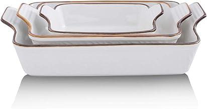 KOOV Bakeware Set, Ceramic Baking Dish Set, Rectangular Casserole Dish Set, Lasagna Pans for Cooking, Cake Dinner, Kitchen...