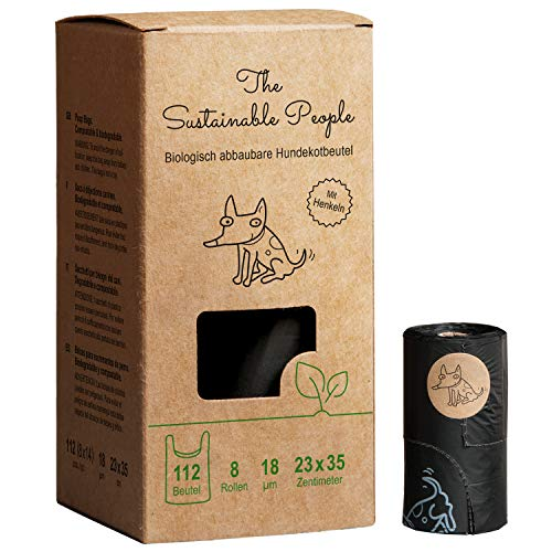 TSP Bio-abbaubare Hundekotbeutel mit Henkeln - OK compost HOME zertifiziert - 100% heim-kompostierbar und biologisch abbaubar - Gross & Extra Dick (18µm), (8 Rollen (112 Beutel))