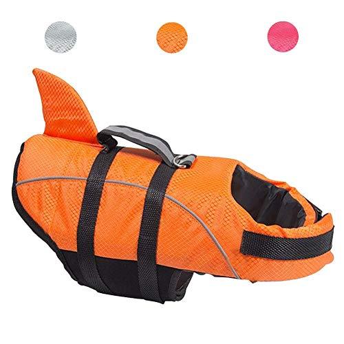 Avanigo Schwimmweste für Hunde, Hai-Motiv, Größe M, Orange
