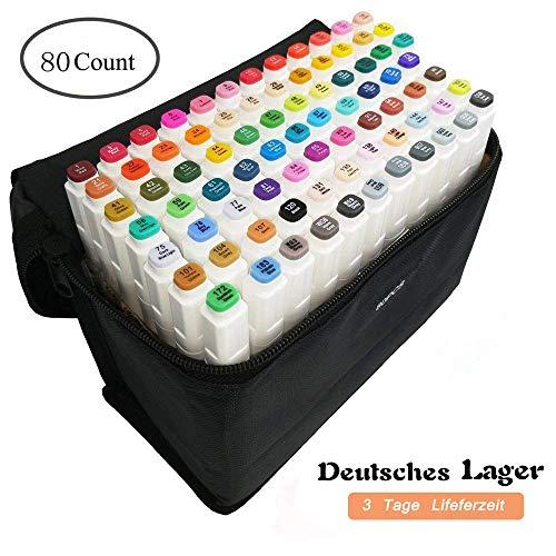 80 Farbige Graffiti Pens Oily Marker Set Twin Tip Textmarker für Studenten Manga Kunstler Sketch Marker Stifte Set Mit (Weiß 1)