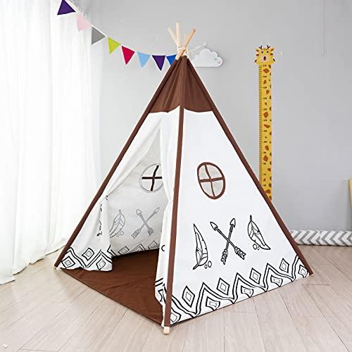 Tienda de campaña para niños con alfombra para niños y niñas, casa de juegos para interiores y exteriores, diseño de rayas blancas, decoración de sala de juegos TiPi Tepee