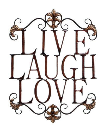 "Live Laugh Love Modern Abstract Metal Wall Art Home Decor Decoration 28""h, 21""w"