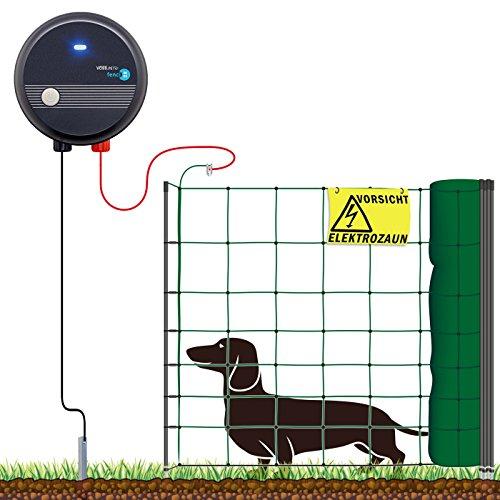 VOSS.farming 50m Hundezaun Komplettset für sehr kleine Hunde, Weidezaungerät Elektronetz Erdanschlussset Warnschild Reparaturset, Hütesicherheit Hundezaun Garten Elektrozaun Hund