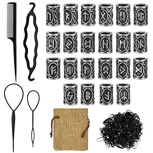 DECARETA Juego de 24 anillos de barba con cuentas para pelo y barba, estilo nórdico, 4 horquillas para introducir el pelo y la barba y 400 gomas negras para el pelo, color plateado, con bolsa
