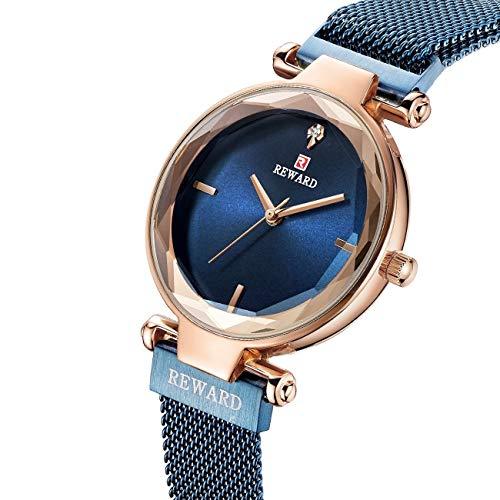 CXJC Cinturón de malla metálica + reloj de cristal de cristal templado mineral for mujer Reloj de cuarzo de las señoras, Personalidad Moda de moda Discorative Watch, 5 colores están disponibles, 3ATM