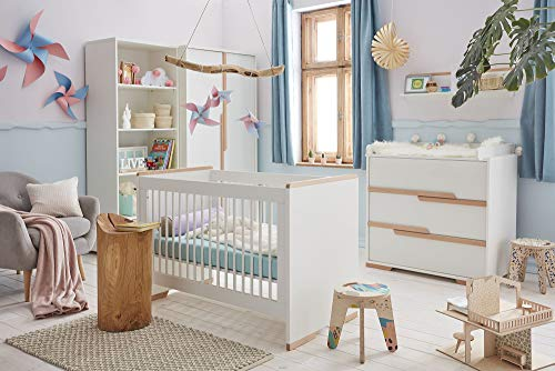 Babyzimmer Kinderzimmer komplett SPRING Set A weiß Schrank Kommode Bett Regal