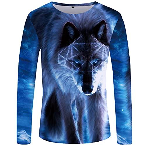 WBYFDC Wolf Summer Camiseta para Hombre Impresión Digital 3D Street Youth Gran Tamaño Cuello Redondo Manga Larga Camiseta Fresca para Hombres Mujeres