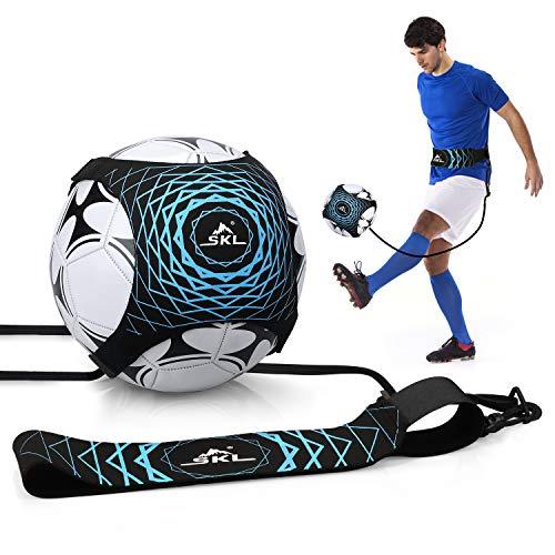 Fußballtraining Kinder Fußballtrainer Solo Fussball Kick Trainer,Solo Fußballtraining mit Verstellbarem Taillengürtel für Kinder Anfänger Kick Off Trainer blau schwarz