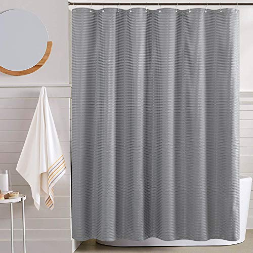 Waterproof Fabric Shower Curtain Grey 72 inch Length Waffle Weave Textured Bathroom Shower Curtain Mildew Resistant