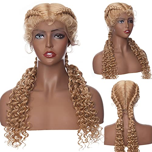 S-noilite Braided Wigs Hand Tied Double Dutch Braided Wigs for Black Women Curls Ends Crochet Cornrow Braids Wigs Twist Braided Wig Lace Front with Baby Hair Synthetic 25'(#Dark Blonde/Bleach Blonde)