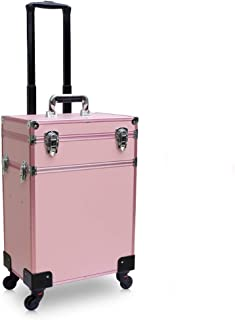 Pink Cosmetic case Makeup Artist Drawbar lamp led Charging Multi-Layer Large Capacity Aluminum Alloy Storage Box