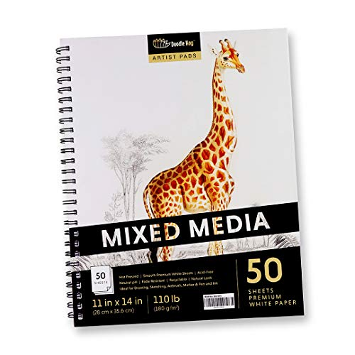 Large Mixed Media Student Sketchbook for Drawing & Sketching Pad (11x14 White, Perforated, 110lb / 180gsm Sketch Pad) Ideal for a Variety of Multimedia Art Supplies for Wet and Dry Media