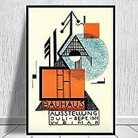 アートキャンバスプリントポスター、バウハウス1923モダンファミリーベッドルームインテリアポスター、キャンバスアートポスター、リビングルームの壁アート写真フレームなし-E_60X80Cm