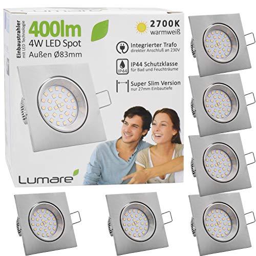 6x Lumare LED Einbaustrahler 4W 400 Lumen IP44 nur 27mm extra flach Einbautiefe LED Leuchtmodul austauschbar Deckenspot AC 230V 120° Deckenlampe Einbauspot warmweiß silber eckig Badezimmer