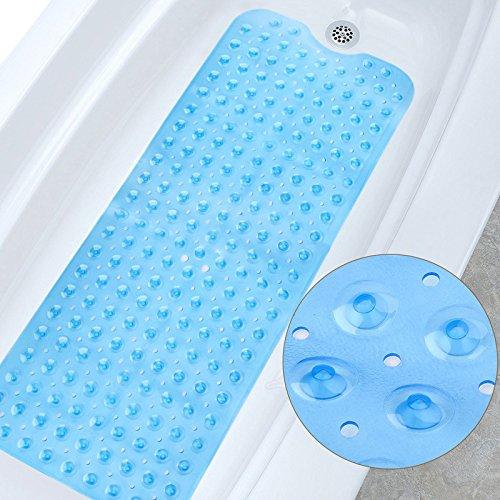 Delgeo Alfombra de baño Extra Larga Anti-Moho, Antideslizante, PVC de Caucho Natural con Ventosa. Alfombrilla para baño, Lavable a máquina, 100 x 40 cm(Azul)