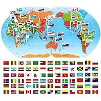 ワールドマップに挿入された国旗子供たちは木製のパズルインテリジェンス開発教育玩具4-6歳の認識します
