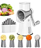 Ourokhome 5 Blade Rotary Grater - Manual Vegetable Grater Nut Grinder with Cleaning Brush and Peeler (White)