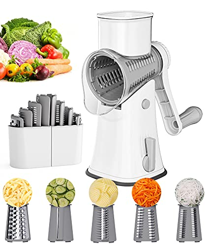 Rotary Cheese Grater Vegetable Slicer, Ourokhome 5 Drum Blades Rotary Grater Slicer for Kitchen, Round Tumbling Slicer for Fruits, Vegetables, Nuts