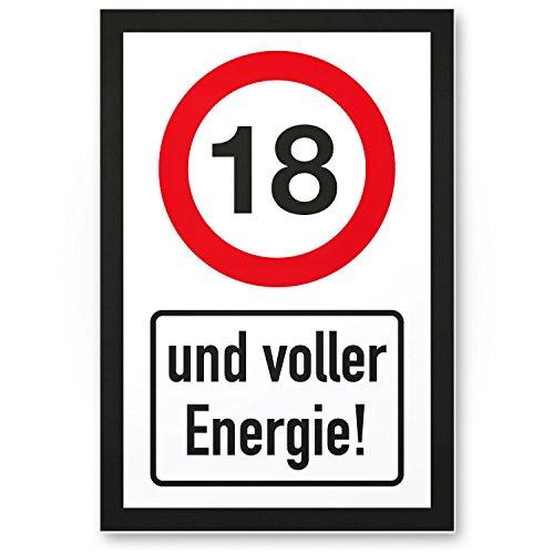 Bedankt! 18 jaar vol energie, plastic bord - Cadeau 18e verjaardag, cadeau-idee verjaardagscadeau achtjaren, verjaardagsdeco/partyaccessoires/verjaardagskaart