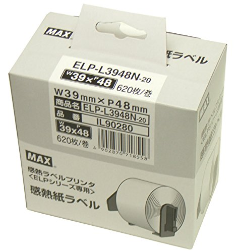 マックス 感熱紙ラベル ELP-L3948N-20 1セット 3巻:1巻×3