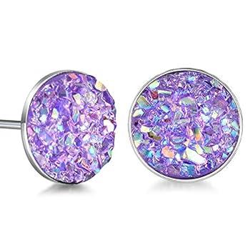 Sterling Silver Druzy Stud Earrings Hypoallergenic Round Studs for Women Men 8mm -Black Blue White Purple