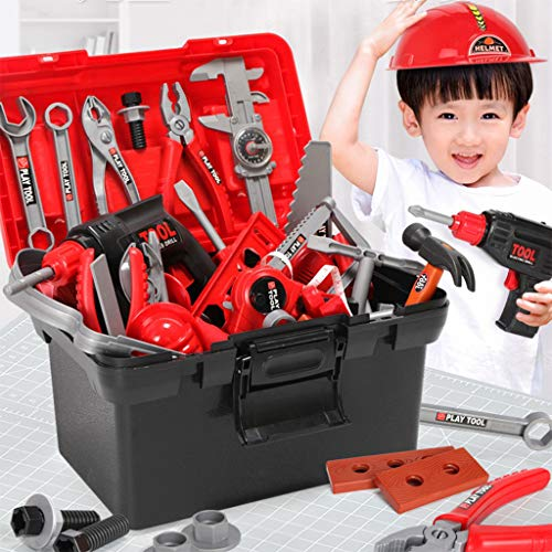 54PCS Kids Tool Toy Sets Construction Toolbox Pretend Play Toys with Electric Drill,Mini Realistic Power Tool Workshop Build Your Own Tool Box for Children Xmas Gift