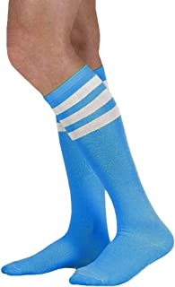 Neon Nation Colored Knee High Tube Socks w/White Stripes