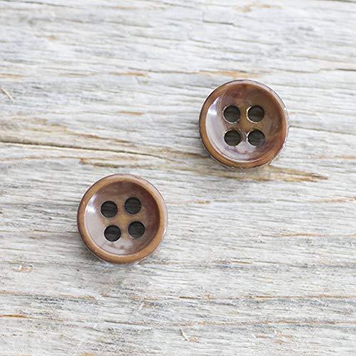 【厚みのあるボタン(4mm厚)】淡水真珠貝 貝ボタン#bt097 4穴10mm C/#BRW 10個セット