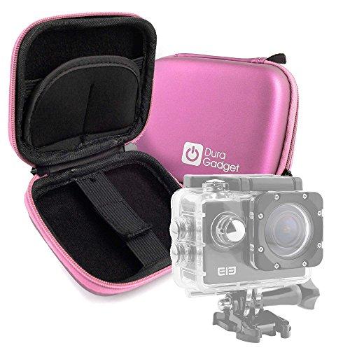 DURAGADGET Custodia Rigida Rosa per Action Camera SmilyDirect | Sodao WiFi | Theoutlettablet | TopElek | Uvistar | Zenoplige 4K | ieGeek - con Elastici - Ideale per I Viaggi - Alta qualità
