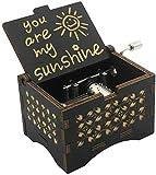 CAMKONG Caja de música de manivela de Madera Vintage grabada con láser, Eres mi Sol, cumpleaños, Navidad Amigos y Familiares. (Negro)