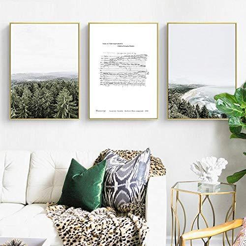 Nórdico escandinavo Chopin Music Forest Shoreline Lienzo Arte impresión Pintura póster Cuadros de Pared para Sala de Estar decoración del hogar 50x70cm sin Marco