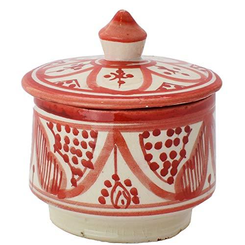 Oosterse keramische blikjes van keramiek Amra rood 10 cm | gekleurde Marokkaanse muntpot thee koffie doos uit Marokko | Orient vintage voorraaddoos kruidendoos rond | servies oosters met de hand geschilderd